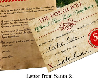 Santa Letter with Envelope & Nice List Certificate Bundle Custom