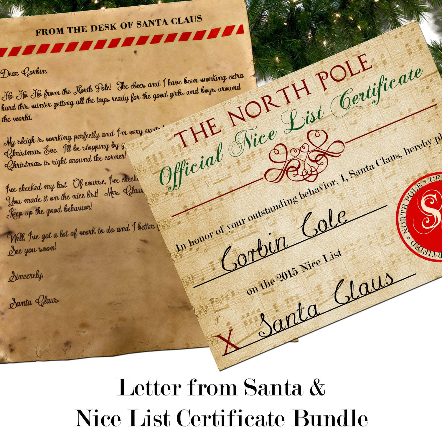 Santa letter with envelope nice list certificate bundle custom spiritdancerdesigns