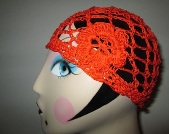 Women's Orange Formal Cloche Crocheted by SuzannesStitches, Women's Formal Orange Cloche, Teen's Formal Orange Cloche, Girls's Formal Cloche