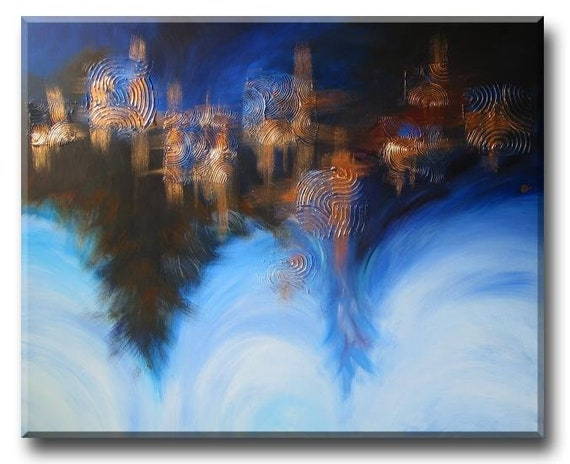 """Soaring High in Glow Clouds (Contemporary Garden cloud abstract landscape painting) 24""""x36"""" Yin Lum (custom art)"""