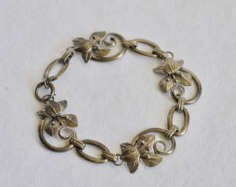 Vintage Sterling Silver Bracelet - Lily - Chain & Link - Flower - Art Nouveau