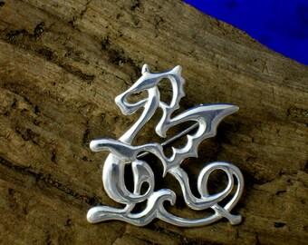 Celtic Dragon Brooch, Silver, Art Nouveau Dragon Brooch, Handmade, Welsh Dragon, Celtic Strapwork Jewelry, dragons, Dragon Gift, Fantasy