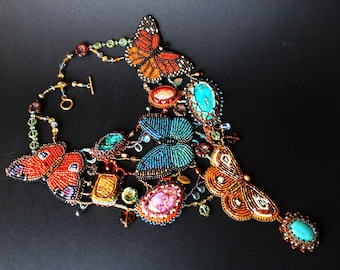 Exclusive necklace with bead embroidered butterflies and gemstones  - Beaded butterfly necklace - Statement necklace with exotic butterflies