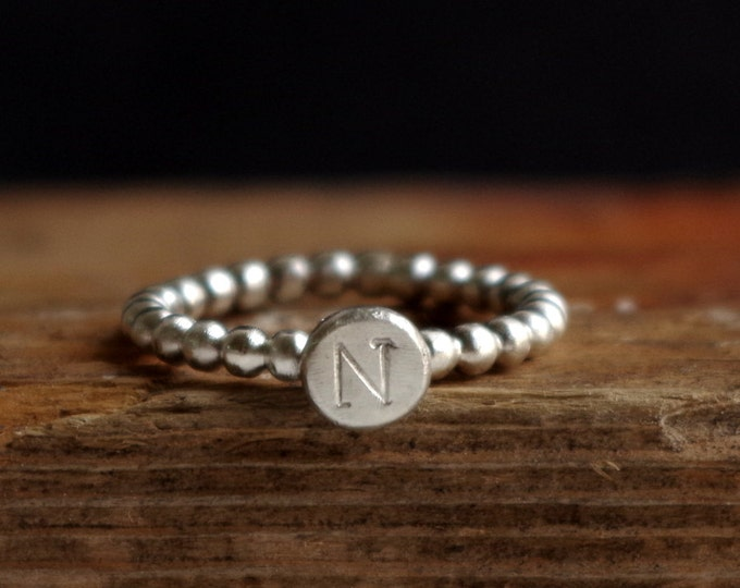 Custom Initial Stacking Ring Organic Silver Nugget Sterling Silver Ring Typography Personalized Gifts for Her