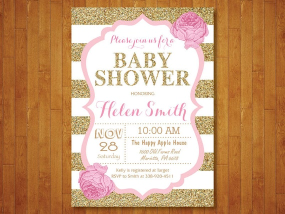 Pink and gold baby shower invitation pink black gold glitter pink and gold baby shower invitation pink black gold glitter floral baby girl shower invitation black stripes printable digital filmwisefo