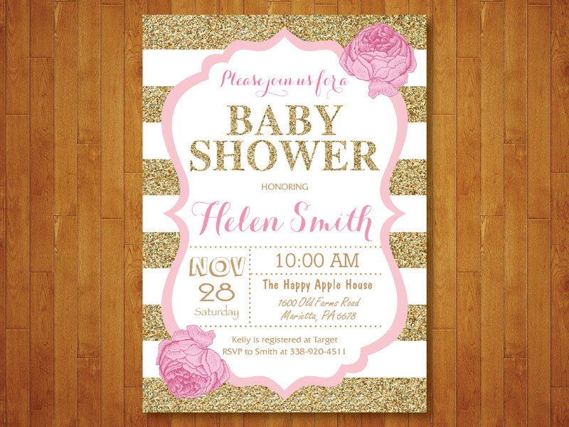 Attractive Pink and Gold Baby Shower Invitation. Pink Black Gold Glitter. TI59