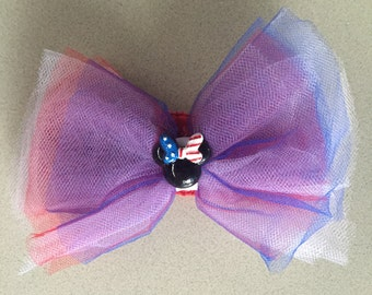 4th Of July Minnie Child's Headband Bow