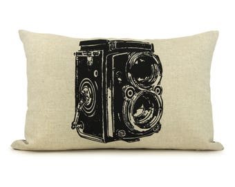 Sale | Vintage Camera Photo Print Decorative Throw Pillow Case | Black, Beige and Geometric Accent 12x18 inches Cushion Cover