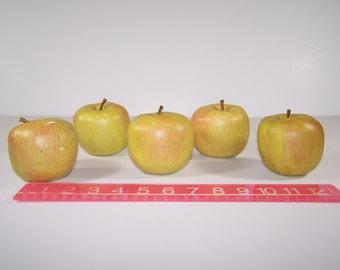 """5 Artificial Fruit Green Apples Foam 3"""" Home Decor"""