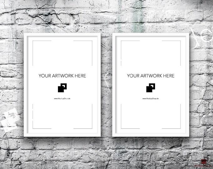 5x7 Set of 2 Frames WHITE FRAME MOCKUP, Vertical, Styled Photography Poster Mockup, old White Brick Background, Framed Art, Instant Download