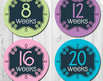 Maternity Stickers, Chalkboard Weekly Pregnancy Stickers, Baby Bump, Belly Bump, Expectant Mom Stickers, Photo Op Stickers,
