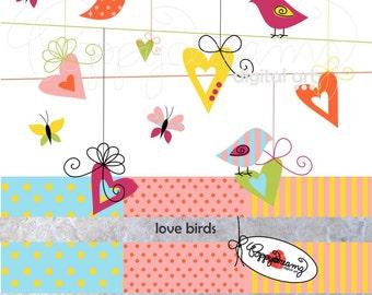 Love Birds: Digital Scrapbook Paper & Clipart Set (300 dpi) Wedding Bridal Baby Shower Floral Heart Valentine