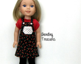 14 inch doll clothes AG doll clothes cherries jumper and red top made to fit like wellie wishers doll clothes