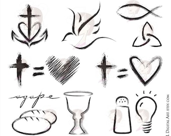 Christian Clipart featuring Church Symbols - Cross Equals Love, Faith, Hope, Love, Holy Spirit, Fish, Salt And Light, Communion 10744