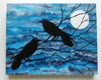 Two Black Ravens with Moon Original Painting with Alcohol Ink & Acrylic on Gessoboard