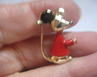 Cute Little Enameled  Mouse Pin in Goldtone Metal with Red Shirt and Black Ears