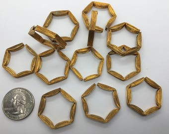Vintage Raw Brass Corrugated Metal Hexagon Shape Finding—25/28mm—5mm wide—34pc each Pack