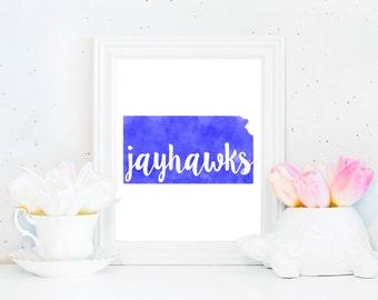 Kansas Jayhawks State Watercolor Printable (8x10)