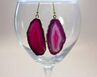 Pink Agate Slice Earrings, Agate Earrings, Gold Agate Earrings, Boho Jewelry, Stone Earrings, Pink Earrings, ASE98