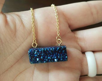Blue druzy stone necklace with gold chain