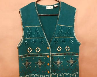 Vintage 90's Beaded Holiday Vest