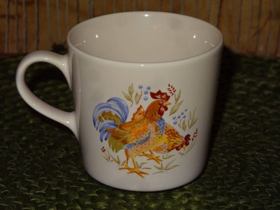 Corelle Rooster Mugs / Corelle Stoneware Mugs / Corelle
