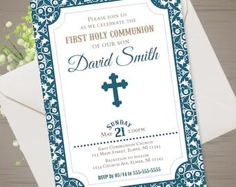 Boy First Communion Invitation Printable Boy Holy Communion