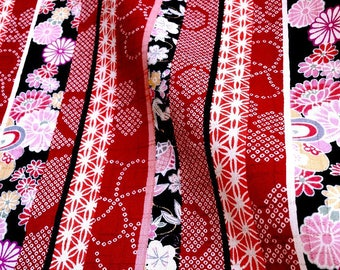 Japanese fabric, rich in color, red cotton striped traditional pattern 112 x 50 (171D)