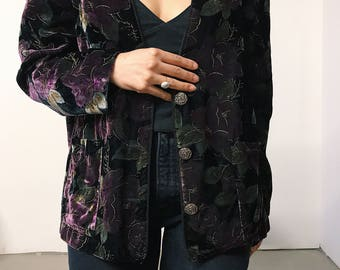 vintage 80s purple floral velvet jacket // small