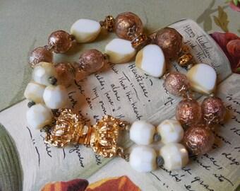 Vintage 2-Strand Copper Foil Art Glass Bead & Rhinestone Rondelle Bracelet    KAE34
