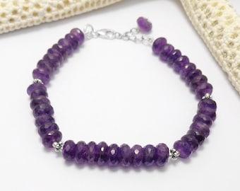 925 Sterling Silver Amethyst Gemstone Beads Bracelet