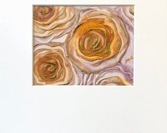 Abstract Roses Plaster Painting in Metallic Gold, Cream, White and Mauve with Acid-Free White Mat - Original Acrylic Art on Panel with Mat