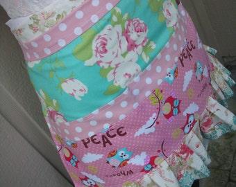 Womens Aprons -  Pink Rose Vendor Apron - Handmade Aprons - Pink Aqua Aprons - Shabby Chic Apron - Annies Attic Aprons - Handmade Aprons