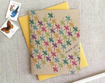 Thank You Note Card / Colorful Pattern Note Card / Modern Thank Yous / Wedding Thank Yous / New Baby Thank You / Bursts Pattern / Say Thanks