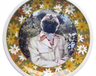 "Pugtastic Portrait Plate 10.75"""