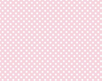 Riley Blake Small Dots, White on Baby Pink, fabric by the yard