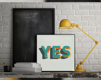 Yes - Modern cross stitch pattern PDF - Instant download