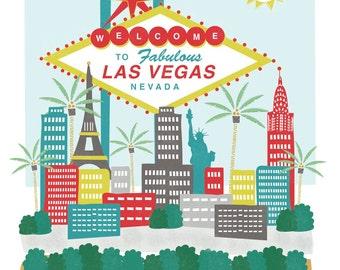 Las Vegas, Nevada - 8x10 - city art illustration wall decor