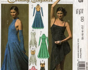 Uncut Misses EVENING GOWNS Fingerless Gloves PATTERN McCall's #5136 Size 12-14-16-18 Two Lengths Flared Fitted Drop-Waist Sewing