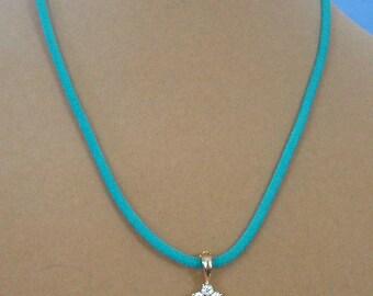 "18"" Light Blue and White Rhinestone Pendant Necklace - N587"