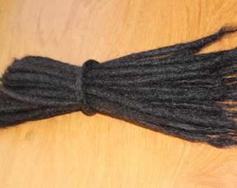 10 very high quality off Black/very dark brown human hair  Dreadlock Extensions - real dreads