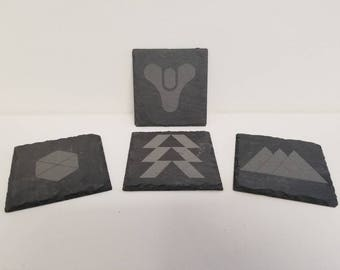 Destiny themed slate rock coasters, Best Friend Gift, Gift for Him, Home Decor
