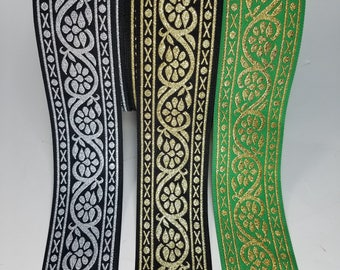 Medieval Vine Metallic Woven Fabric Trim 1 3/4 inch Sold by the Yard or 5 yards