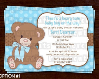 Teddy Bear Theme Baby Shower Party Invitation | Blue & Brown | It's a Boy | Personalized | Printable DIY Digital File