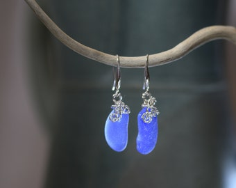 Genuine Sea Glass earrings - genuine Sea Glass -Sterling silver -Beach Glass -Jewelry -surf tumbled -handcrafted - cobalt blue
