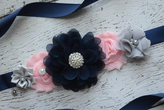 Flower Sash, Blush pink navy Grey Sash,#2, flower Belt, maternity sash, wedding sash, maternity sash girl, flower girl sash, gray sash