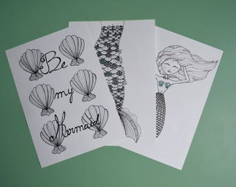 mermaids and seashells, glitter card