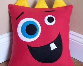 Red Monster/Silly Face Pillow
