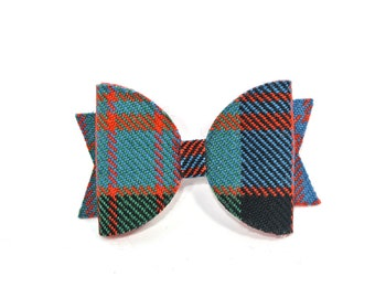 O Clan Tartan hair bow - Scottish clan tartans - O surnames - wool green blue check tartan - Ogilvie Oliphant