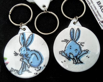 Blue rabbit, keyring, keychain, Easter Bunny, bunny keyring, rabbit keychain, bunny rabbit keyring, rabbit keychain, rabbit gift, bunny gift